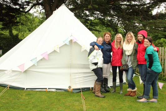 hen party in bell tent