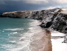 Snow on a beach in Cornwall