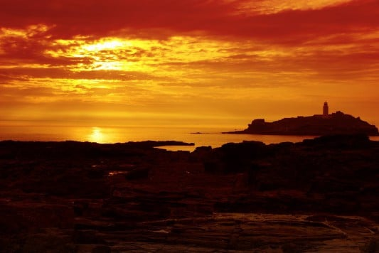 Sunset in Cornwall at Godrevy