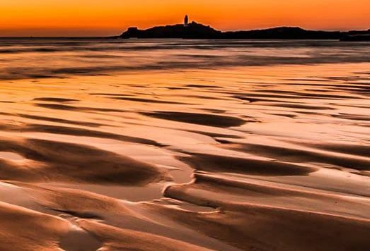 sunset on Godrevy beach, cornwall